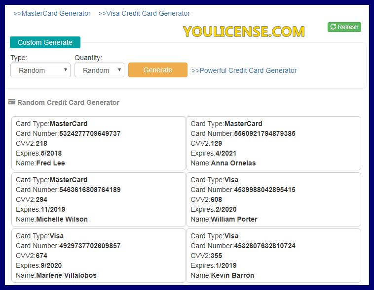 credit card generator with money 2018 in india