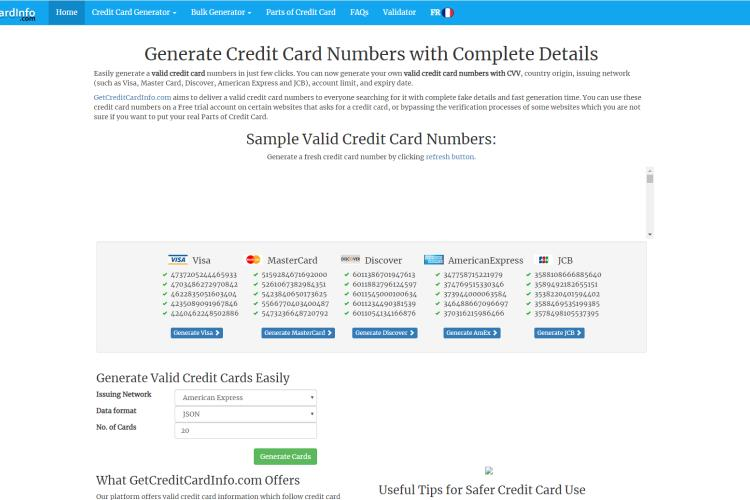 Credit Card Generator with CVV and Expiration Date and Name 2019