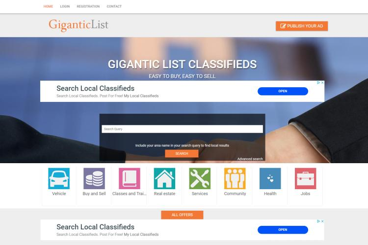 Best Free Sites like Craigslist for Free Ads: GiganticList.com
