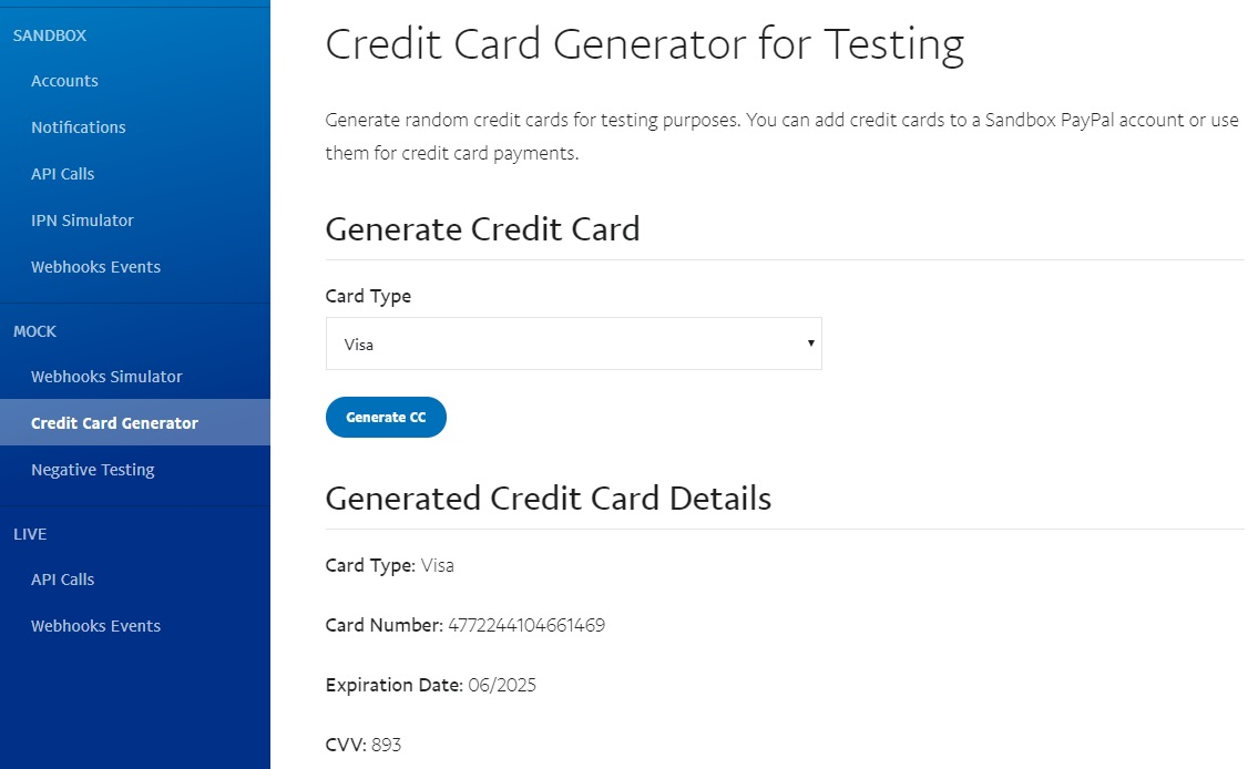 Card Test 2019 Numbers Credit Paypal